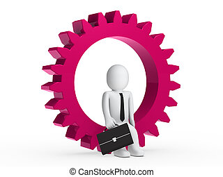Businesman sitting in pink gear - Businesman with briefcase...
