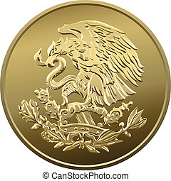 Mexican money fifty centavo, Gold Coin, heraldic eagle...