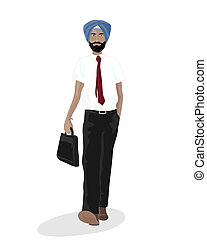 sikh businessman - an illustration of a sikh businessman...