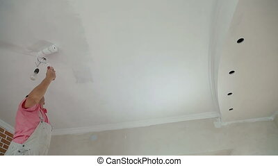 painting the ceiling with  roller