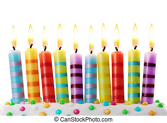Ten birthday candles on white background