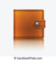 Realistic vector leather wallet. Eps10.