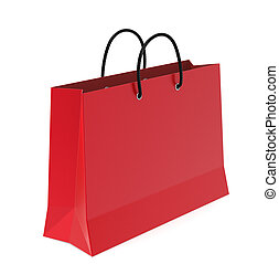 Shopping bag - A Red shopping bag. White Background.