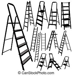 ladder vector silhouette in black color