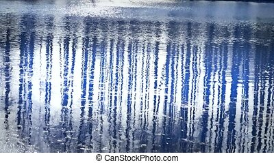 Forest reflection in water,ripple