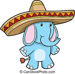 Sombrero Blue Elephant vector illustration