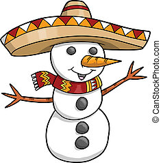 Sombrero Christmas Holiday Snowman Vector  illustration art