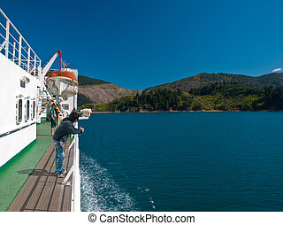ferry deck - A ferry deck with tourists