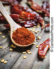 Chili Peppers - Chili peppers on rustic wooden plank