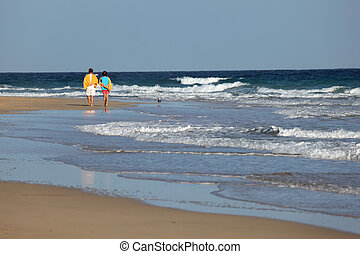 Walking on the beach, Canary Island Fuerteventura, Spain...