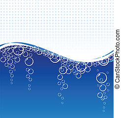 Underwater. - Blue water with bubbles. Vector illustration.
