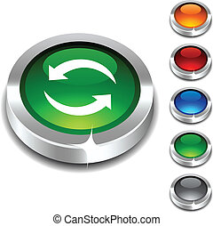 Refresh 3d button - Refresh 3d button set Vector...