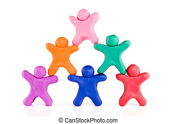 plasticine guys making a human pyramid - colorful plasticine...