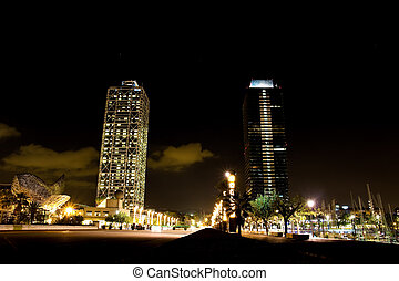 Olympic port in Barcelona at night. Catalonia, Spain.