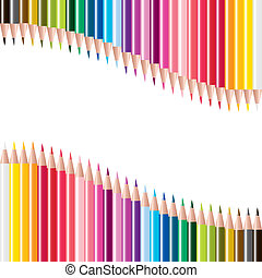 vector set of colored pencils
