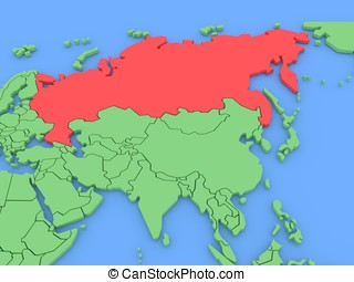Three-dimensional map of Russia isolated. 3d