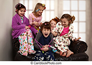 Elementary Girl's Slumber Party Torchering Brother -...