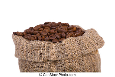 Coffee beans in canvas sack isolated on white