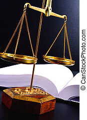 Scale of justice and books, justice concept