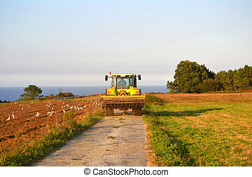 Tractor at field cultivation work - Tractor after doing farm...