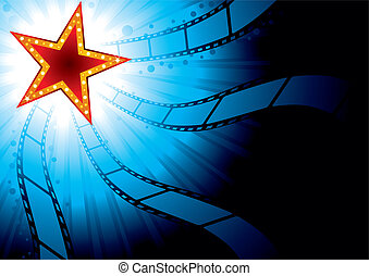 Cinema background - Poster with red star on blue background