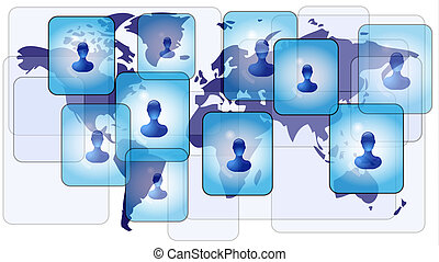 Several persons in social media network on world map
