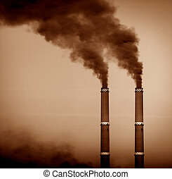 Pollution - Two smoke stacks, sepia