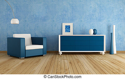 Blue living room - fashion armchair against blue wall in a...