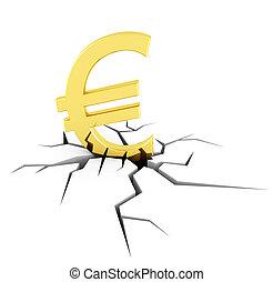 Euro crash - conceptual image of the euro crisis - rendering