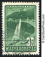 Lake Balaton - HUNGARY - CIRCA 1947: stamp printed by...