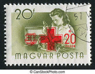 radio assembler - HUNGARY - CIRCA 1955: stamp printed by...