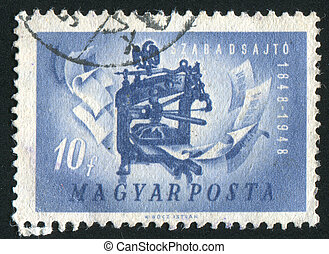 printing press - HUNGARY - CIRCA 1947: stamp printed by...
