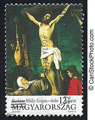 Golgotha - HUNGARY - CIRCA 1994: stamp printed by Hungary,...