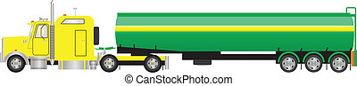 Road Tanker Semi Trailer - A Vector Image of a Yellow and...