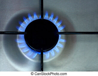 Gas burner - Detail of gas burner with blue flame