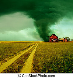Tornado hitting a house