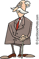 senior businessman - cartoon humorous illustration of senior...