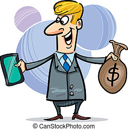 businessman with tablet ant sack of dollars - cartoon...