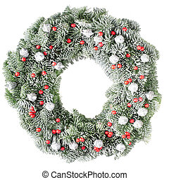 Christmas wreath with frost - Christmas pine wreath isolated...