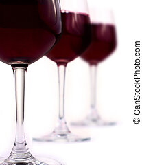 Red wine glasses - Red wine in three wine glass, white...