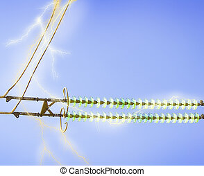 electric line against the blue sky - High-voltage electrical...