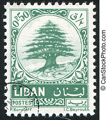 Cedar of Lebanon - LEBANON - CIRCA 1974: stamp printed by...