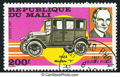 Henry Ford - MALI - CIRCA 1987: stamp printed by Mali, shows...