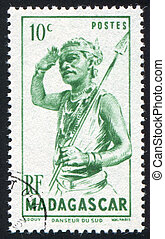 Southern Dancer - MADAGASCAR CIRCA 1946: stamp printed by...