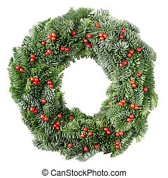 Christmas wreath with red berries - Christmas pine wreath...