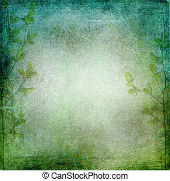 Green trees on the vintage textured green - blue background with  place for text or image