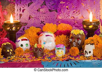 mexicano, día, de, el, muerto, altar