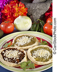 Sopes Dish Mexican Food - Sopes which is a thick tortilla...