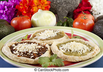 Traditional Mexican Sopes - Sopes which is a thick tortilla...