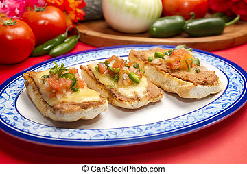 Traditional Mexican Molletes - Molletes mexican dish which...